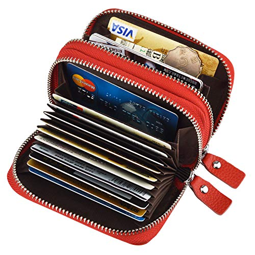 MaxGear RFID Double zipper wallet RFID Credit Card Holder for Women RFID Credit Card Wallet for (Zip Coin Holder)