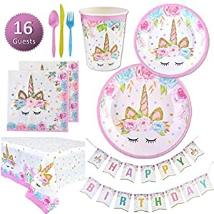 Unicorn Party Supplies Set   Unicorn Decorations and Tableware   Disposable and No Washing Up   Serves 16 – 114 Pieces…