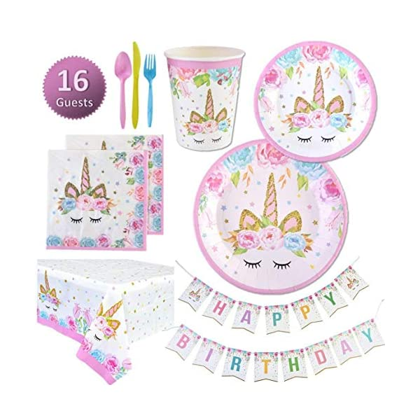Unicorn Party Supplies Set | Unicorn Decorations and Tableware | Disposable and No Washing Up | Serves 16 – 114 Pieces… 3
