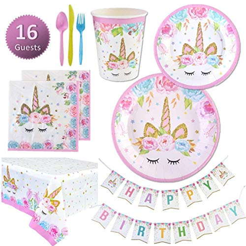 Unicorn Party Supplies Set | Unicorn Decorations and Tableware | Disposable and No Washing Up | Serves 16 – 114 Pieces by Party People ()