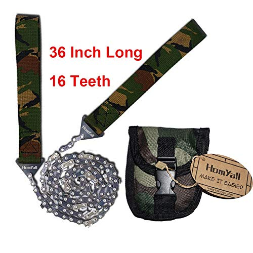 Homyall 36 Inch Pocket Chainsaw Long Chain Folding Camouflage Hand Saw-Best Compact Tool for Garden Work Survival Gear Camping Hiking Hunting Tree Cutting Emergency Kit-Bonus Front Snap Carrying Case