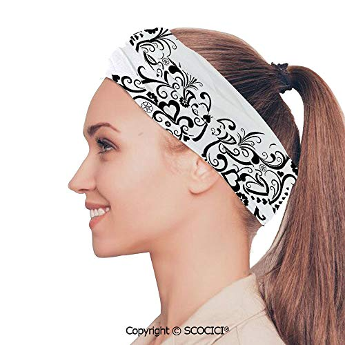 SCOCICI Stretch Soft and Comfortable W9.4xL18.9in Headscarf Headbands Madam Swirled Wings with Flower Spiritual Nature Image,Black White Perfect for Running, Working Out, Yoga, Exercise & Fitness, G (Solid Madam Gold)