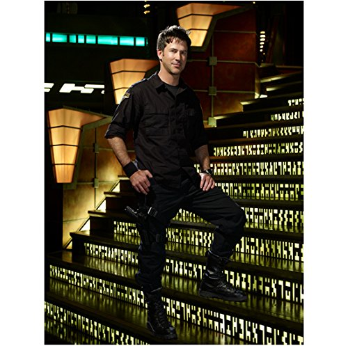 Joe Flanigan 8x10 Inch Photo Stargate Atlantis 6 Bullets The Other Sister Standing on Lighted Stairs Pose 2 kn