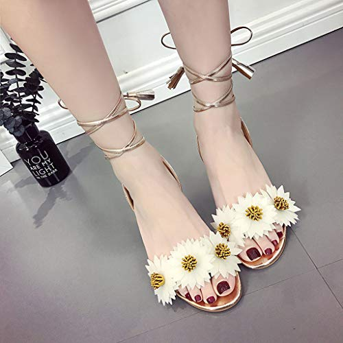 Beige Épais Talons Romaines Bout Fleurs Lanière Chaussures Ouvert Hauts Sandales À Femme qwOpP4