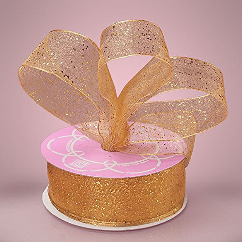 Premium Gold Glitter Ribbon - 25 Yards - 1 1/2 Inches Wide (Gemstone Dust Sheer)