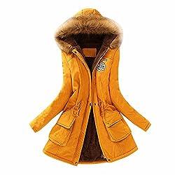Vesniba Womens Warm Long Coat Fur Collar Hooded Jacket Winter Parka Outwear Coats Yellow