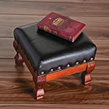 Wood and Faux Leather Small Foot Stool