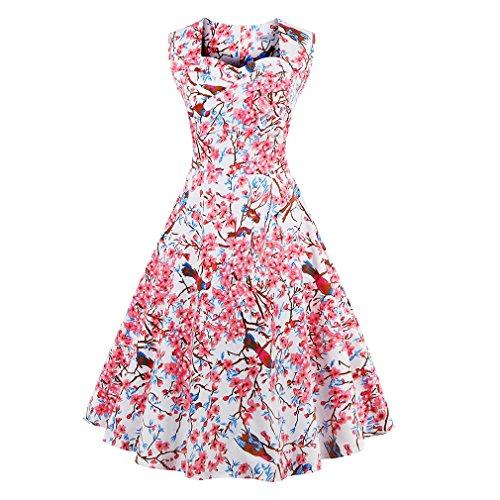 La mujer vestidos de verano vestidos estampados florales Vintage Retro estilo elegante casual Oficina vestidos vestido de fiesta Como se muestra en la figura 75