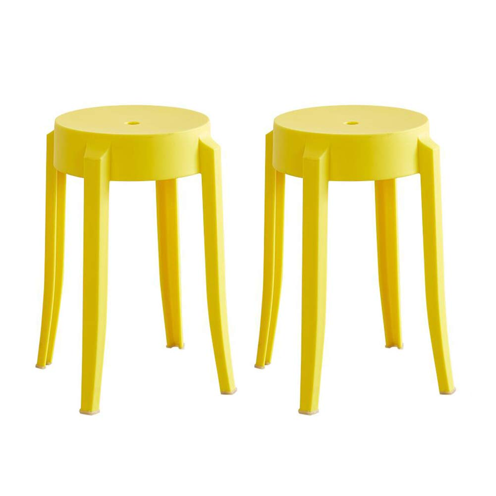 Yellow Dall Home Stool Seating Multi Purpose Stools Plastic Dining Stools Stack 2 Pcs (color   RED)