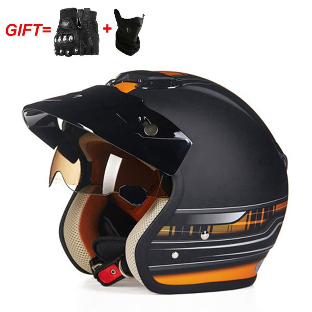 JEANN-MThelmet Casco Jet DOT Certificato Casco da Scooter Jet Pilot Vintage Harley Helmets Retro Open Face Motorcycle Crash Half Helmet