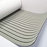 """Marine Flooring Composite Boat Decking Sheet Synthetic Teak 94.5""""x35.4"""" Grey With Black Lines"""