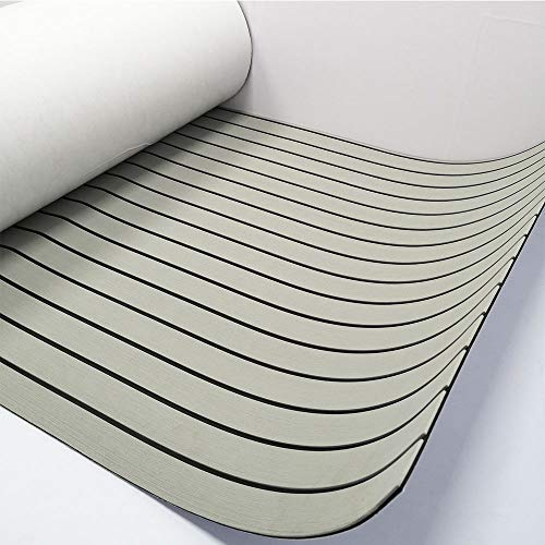 "Marine Flooring Composite Boat Decking Sheet Synthetic Teak 94.5""x35.4"" Grey with Black Lines"