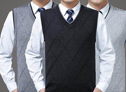(NAIL39) メンズ Vネック ベスト チョッキ ニット セーター ウール ビジネス フォーマル ウォームビズ おしゃれ 秋冬