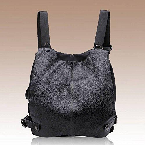 Leder Schultertasche Handtasche Leder Rucksack Schüler Umhängetasche , schwarz