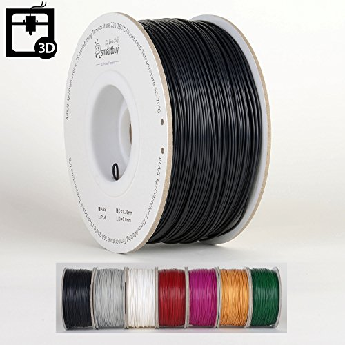 Smartbuy 1.75mm Black ABS 3D Printer Filament - 1kg Spool / Roll (2.2 lbs) - Dimensional Accuracy +/- - Black Hip Onyx