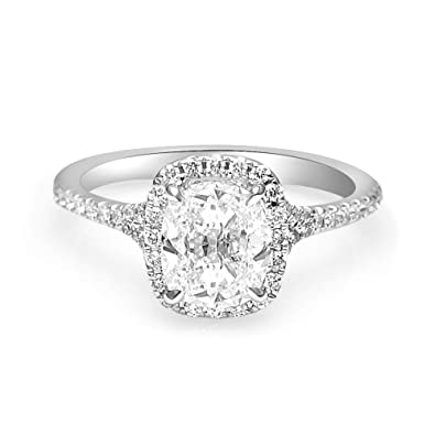 Henri Daussi New Cushion Halo Gia Diamond Engagement Ring Retail