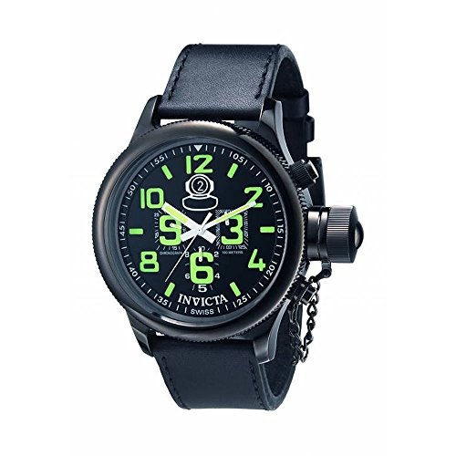 Invicta Men's 7182 Signature Collection Russian Diver Black Ion-Plated Chronograph Watch Black Ion Chronograph Watch