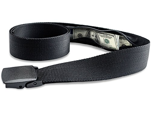 Travel Security Belt with Hidden Money Pocket - Cashsafe Anti-Theft Wallet - Non-Metal Buckle by RoomierLife ()