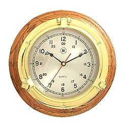 Time Factory AJ-SQ508 Lacquered Brass Porthole Quartz Clock on Oak Wood