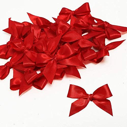 V-Top-Shop 40pcs Red Satin Ribbon Bows Ornament for Appliques, Crafts, Cards, DIY, Wedding Ornament - 32 mm (1.2 inch)