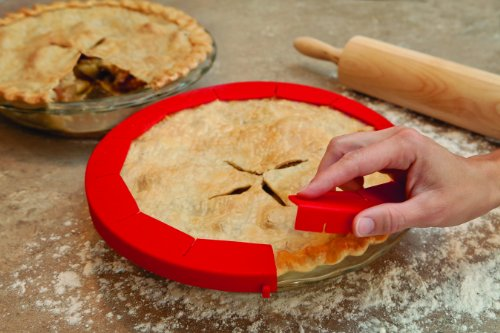 "Talisman Designs Adjustable Pie Crust Shield, BPA-free Silicone, Red, Fits 8.5"" - 11.5"" Rimmed Dish"
