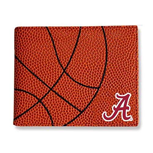 Zumer Sport Alabama Crimson Tide Basketball Leather Bifold Wallet - Made from Actual Ball Materials - Many Slots for Cards - Great for Men or Boys - Orange ()