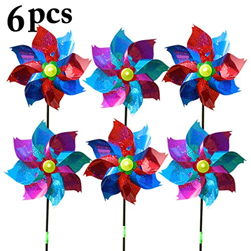 Fansport 6PCS Kids Wind Spinner Pinwheel Toy Glitter Windmill for Outdoor Garden Decor (Random Color) -