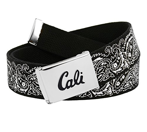 Men's Cali Silver Flip Top Buckle with Printed Canvas Web Belt XXX-Large Black Bandana Print