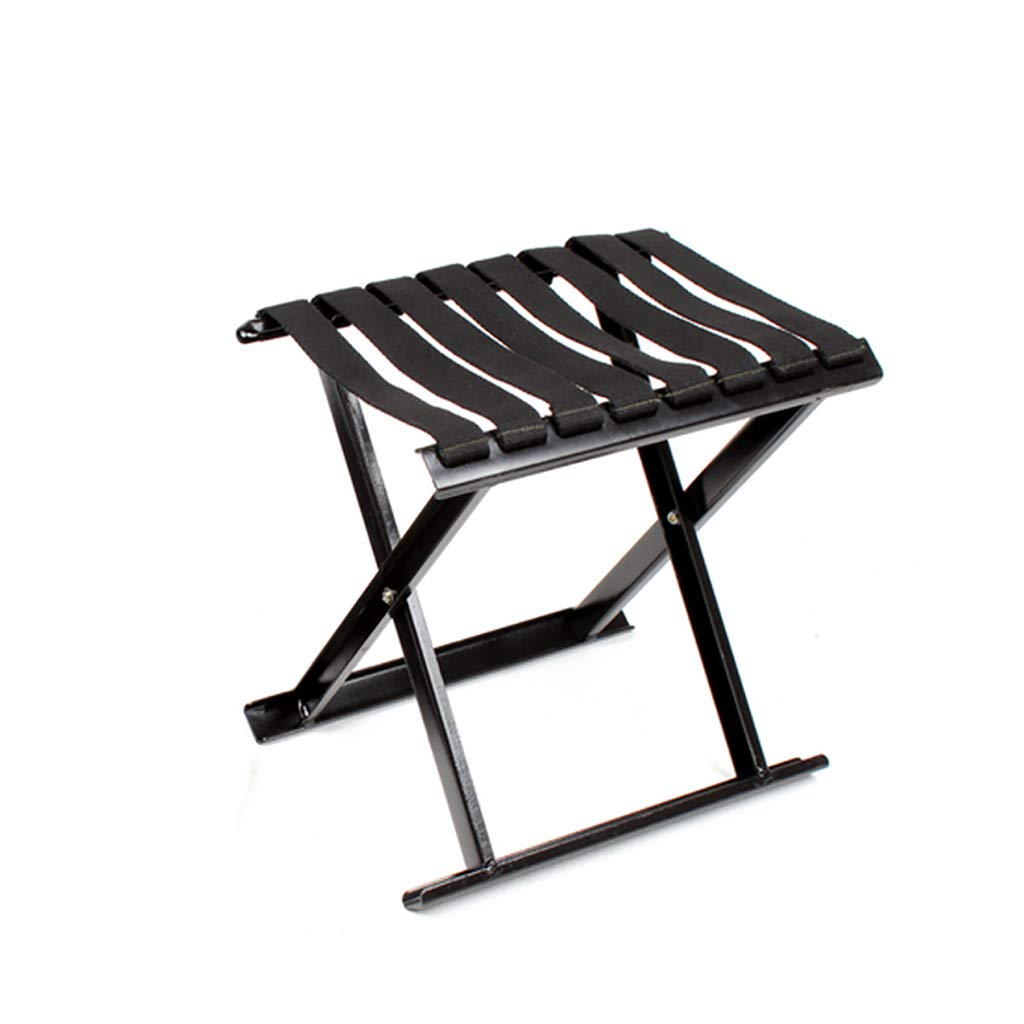 Luggage Racks- Black folding metal outdoor Mazar stool Leisure fishing beach bench Multi-function home Hotel luggage rack Sofa stool Foot stool Size: 282228cm