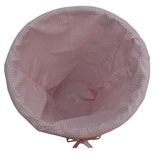 Redmon For Kids Collection Canasta redonda para ropa sucia con forro de tela de guinga color rosado