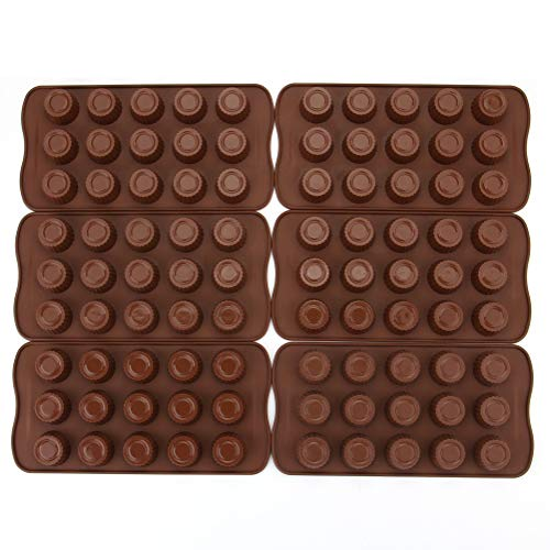 Tebery 6 Pack Silicone Chocolate Jelly Candy Mold Cake Baking Mold Non-stick Molds for Chocolate, Keto Fat Bomb and Peanut Butter