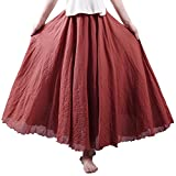 Nicetage Women's Bohemian Style Elastic Waist Band Cotton Long Maxi Skirt Dress (Rust Red