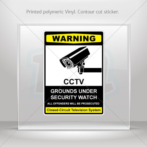 Decal Stickers Cctv Grounds Under Security Watch Vehicle Weatherproof Sports (5 X 3.58 In)