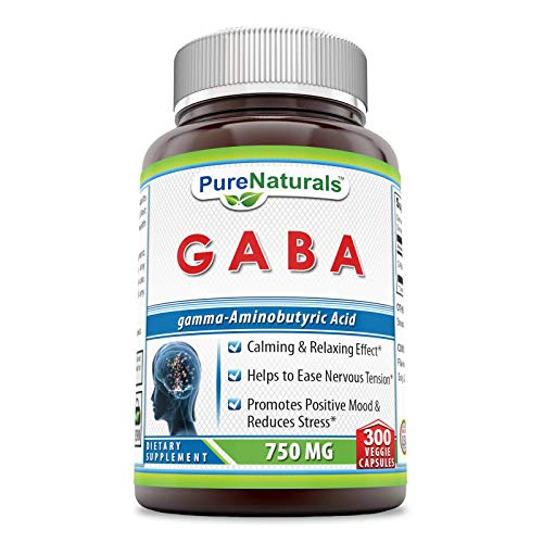 Pure Naturals GABA 750 Mg, 300 Veggie Capsules -Promotes Positive Mood & Reduces Stress* -Helps to Ease Nervous Tension* -Calming & Relaxing Effect*