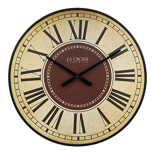- La Crosse Technology BBB81410 21 Inch Barton Quartz Wall Clock, Antique White