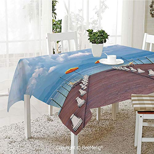 Large Family Picnic Tablecloth,Easy to Carry Outdoors,Seascape,Luminous Sunshades and Sun Beds On a Jetty at Lake Seascape Scenic,Blue Orange Dried Rose,59 x 104 inches