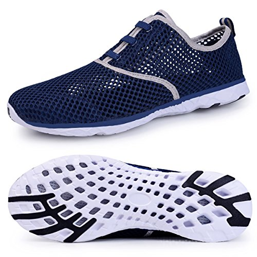 Water Shoes for Men Quick Drying Aqua Shoes Beach Pool Shoes (Navy, 41) by WateLves
