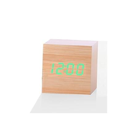 Ularma Nuevo escritorio Digital madera madera moderno LED despertador termómetro Reloj calendario (L)