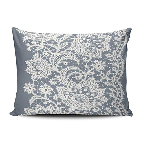 SALLEING Custom Fashion Home Decor Pillowcase Lace Ribbon Vertical Boudoir Throw Pillow Cover Cushion Case 12x18 Inches One Sided Print
