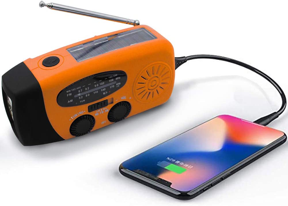 Upgraded Emergency Solar Weather Radio Hurricane Supplies Earthquake Kit Hand Crank Self Powered AM/FM/WB NOAA Wind up Survival Radios LED Flashlight 1000mAh Power Bank for iPhone Smart Phone (Orange)