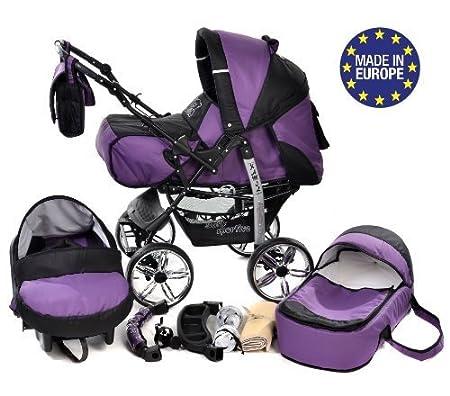 Kamil - Sistema de viaje 3 en 1, silla de paseo, carrito con capazo y silla de coche, RUEDAS ESTÁTICAS y accesorios (Sistema de viaje 3 en 1, violeta, ...