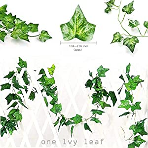 HAODOU 84 Feet 12 Strands Artificial Ivy Leaf Plants Vine Hanging Garland Fake Foliage Flowers for Wedding Party Garden Outdoor Office Wall Decoration 2