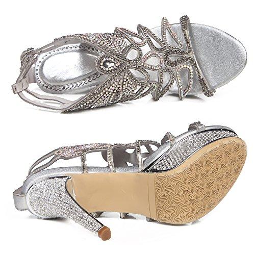 Honeystore Damen Kunstleder Stöckel Absatz Pfau Sandalette Slingpumps mit Strass Schuhe Silber