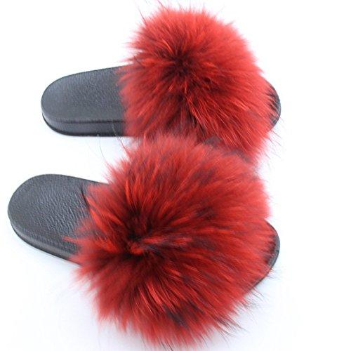 Gegefur Women Real Raccoon Fur Feather Vegan Leather Open Toe Single Strap Slip On Slipper
