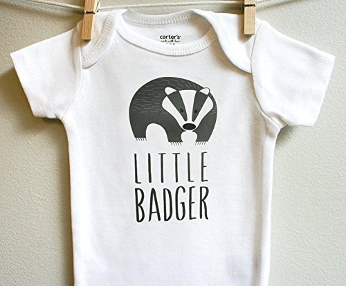 Little Badger Boy Girl Baby Clothes Bodysuit Rompe Short Long Sleeve, Sizes Newborn 3 6 9 12 18 24 - Badger Shorts Cotton