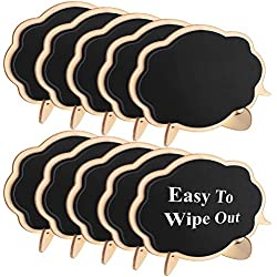 Famistar Mini Thicker Black Chalkboards Signs Easy to Wipe Out,10 PCS Wood Small Messag Board Signs Place Cards for Weddings,Parties,Table Numbers,Food Signs,Special Event Decoration with Easel Stand