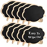 #4: Famistar Mini Thicker Black Chalkboards Signs Easy to Wipe Out,10 PCS Wood Small Messag Board Signs Place Cards for Weddings,Parties,Table Numbers,Food Signs,Special Event Decoration with Easel Stand
