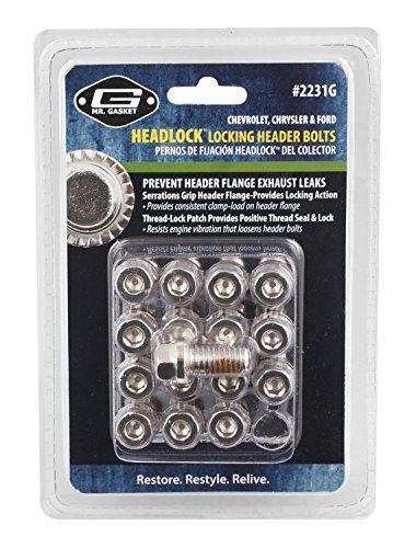 Mr. Gasket 2231G Headlock Locking Header Bolt, (Set of 16) ()