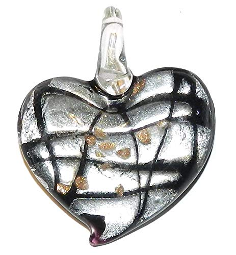 Glass Gold Foil Heart Pendant - Black Swirl Silver Foil w Gold Sparkle 45mm Heart Lampwork Glass Pendant #ID-3430