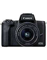 Canon EOS M50 Mark II camera en lens EF-M 15-45 mm F3.5-6.3 is STM (24,1 MP, 7,5 cm lcd-aanraakscherm, wifi, HDMI, bluetooth, Dual Pixel CMOS AF-systeem, ogen-AF, 4K-video, OLED EVF), zwart